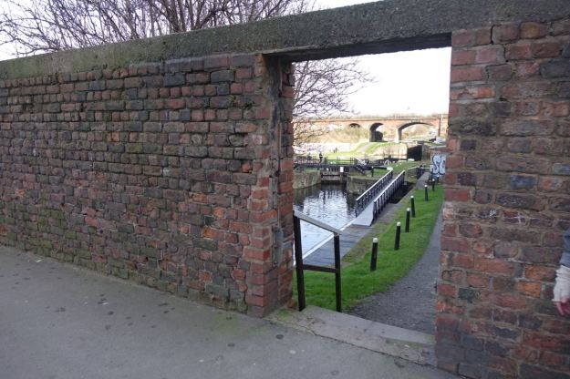 It's the beginning of the Leeds and Liverpool Canal. Another way the North Docks area links to Liverpool's industrial past and the rest of north western England's industrial places.