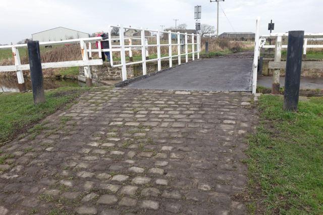Swing bridge as part of a farm track.