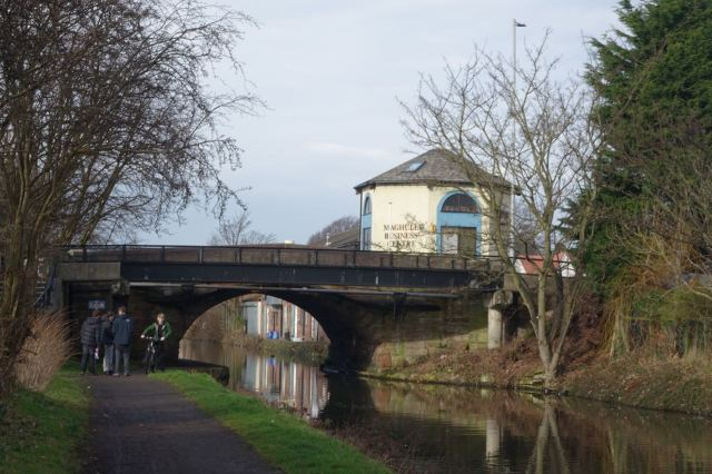 When with kindly timing the sun comes out at The Red Lion Bridge.